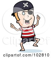 Royalty Free RF Clipart Illustration Of A Happy Dancing Pirate Boy With An Eye Patch by Cory Thoman