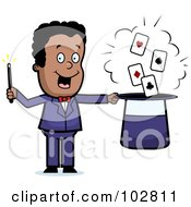 Royalty Free RF Clipart Illustration Of A Black Magician Doing A Card Trick