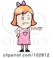 Royalty Free RF Clipart Illustration Of A Mad Little Girl Pointing by Cory Thoman