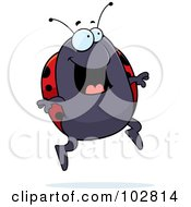 Royalty Free RF Clipart Illustration Of A Happy Jumping Ladybug by Cory Thoman