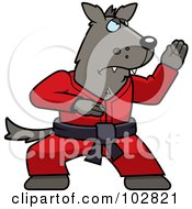 Royalty Free RF Clipart Illustration Of A Black Belt Karate Wolf by Cory Thoman