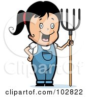 Royalty Free RF Clipart Illustration Of A Happy Farmer Girl With A Pitchfork