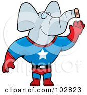 Royalty Free RF Clipart Illustration Of A Super Hero Elephant Waving by Cory Thoman