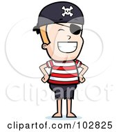 Royalty Free RF Clipart Illustration Of A Grinning Pirate Boy by Cory Thoman