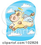 Royalty Free RF Clipart Illustration Of A Flying Angel Cow by Cory Thoman