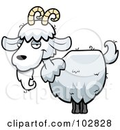 Royalty Free RF Clipart Illustration Of A White Goat With Horns And A Beard by Cory Thoman