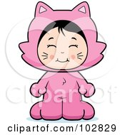 Royalty Free RF Clipart Illustration Of A Cute Asian Girl In A Pink Cat Costume by Cory Thoman