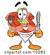 Red Telephone Mascot Cartoon Character Holding A Knife And Fork