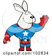 Royalty Free RF Clipart Illustration Of A Waving Rabbit Super Hero