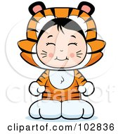 Royalty Free RF Clipart Illustration Of A Cute Asian Girl In A Tiger Costume by Cory Thoman