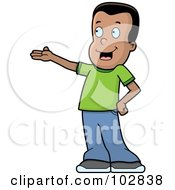 Royalty Free RF Clipart Illustration Of A Presenting Black Boy In A Green Shirt by Cory Thoman