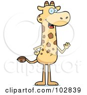 Royalty Free RF Clipart Illustration Of A Friendly Giraffe Standing And Waving by Cory Thoman