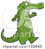 Royalty Free RF Clipart Illustration Of A Happy Alligator Walking And Waving by Cory Thoman
