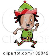 Royalty Free RF Clipart Illustration Of A Little Black Elf Girl Running by Cory Thoman