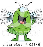 Royalty Free RF Clipart Illustration Of A Green Dragonfly With An Idea by Cory Thoman