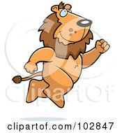 Royalty Free RF Clipart Illustration Of A Lion Taking A Leap by Cory Thoman