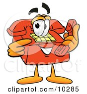 Clipart Picture Of A Red Telephone Mascot Cartoon Character Holding A Telephone
