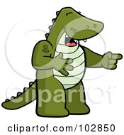 Royalty Free RF Clipart Illustration Of A Laughing And Pointing Gator by Cory Thoman