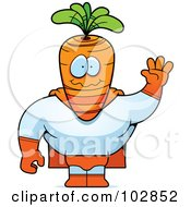 Royalty Free RF Clipart Illustration Of A Waving Carrot Super Hero