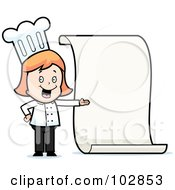Royalty Free RF Clipart Illustration Of A Friendly Female Chef Presenting A Blank Menu by Cory Thoman