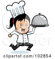 Royalty Free RF Clipart Illustration Of A Chef Girl Running With A Platter