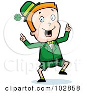 Royalty Free RF Clipart Illustration Of A Happy Dancing Irish Leprechaun Boy