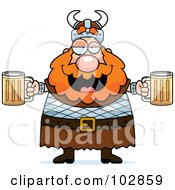Royalty Free RF Clipart Illustration Of A Chubby Drunk Viking Man Holding Beer by Cory Thoman