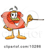 Clipart Picture Of A Red Telephone Mascot Cartoon Character Holding A Pointer Stick