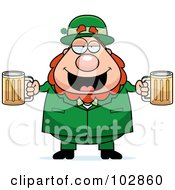 Royalty Free RF Clipart Illustration Of A Chubby Leprechaun With Beer Mugs by Cory Thoman
