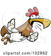 Royalty Free RF Clipart Illustration Of A Rooster Flying And Squawking by Cory Thoman