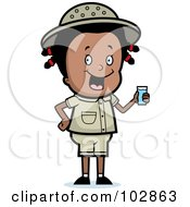 Royalty Free RF Clipart Illustration Of A Happy Black Safari Girl Holding A Glass Of Water