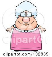 Royalty Free RF Clipart Illustration Of A Chubby Granny In A Pink Dress