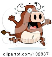Royalty Free RF Clipart Illustration Of A Scared Bull Panicking by Cory Thoman