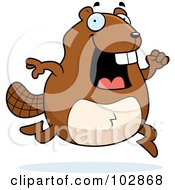 Royalty Free RF Clipart Illustration Of A Happy Running Beaver by Cory Thoman