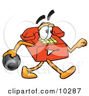 Clipart Picture Of A Red Telephone Mascot Cartoon Character Holding A Bowling Ball