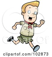 Royalty Free RF Clipart Illustration Of A White Scout Boy Running