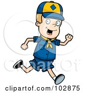 Royalty Free RF Clipart Illustration Of A White Cub Scout Boy Running