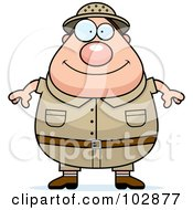 Royalty Free RF Clipart Illustration Of A Chubby Safari Man by Cory Thoman