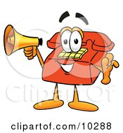 Clipart Picture Of A Red Telephone Mascot Cartoon Character Holding A Megaphone