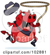 Royalty Free RF Clipart Illustration Of A Rodeo Devil Cowboy Swinging A Lasso by Cory Thoman