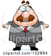 Royalty Free RF Clipart Illustration Of A Chubby Businessman by Cory Thoman