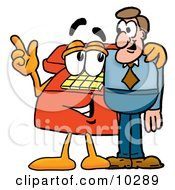 Clipart Picture Of A Red Telephone Mascot Cartoon Character Talking To A Business Man