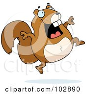 Royalty Free RF Clipart Illustration Of A Happy Jumping Squirrel by Cory Thoman