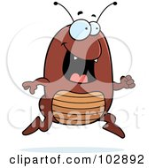 Royalty Free RF Clipart Illustration Of A Happy Running Flea by Cory Thoman