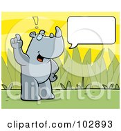 Royalty Free RF Clipart Illustration Of A Standing Rhino Making A Comment With A Text Box