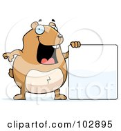 Royalty Free RF Clipart Illustration Of A Happy Hamster Holding A Blank Sign by Cory Thoman