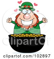 Royalty Free RF Clipart Illustration Of A Chubby Leprechaun Over His Gold by Cory Thoman