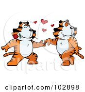 Royalty Free RF Clipart Illustration Of A Romantic Tiger Couple Dancing by Cory Thoman