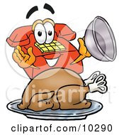 Clipart Picture Of A Red Telephone Mascot Cartoon Character Serving A Thanksgiving Turkey On A Platter by Toons4Biz