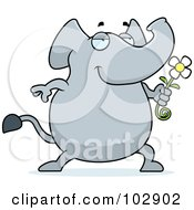 Royalty Free RF Clipart Illustration Of A Romantic Elephant Giving A Daisy by Cory Thoman